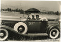 "Movie/TV Memorabilia:Autographs and Signed Items, Katharine Hepburn Signed Photo. A b&w 14"" x 11"" photo of Hepburn and lifelong friend Emile LaVigne in an antique car, inscri..."