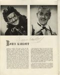 "Movie/TV Memorabilia:Autographs and Signed Items, Boris Karloff Signed ""Peter Pan"" Program. A program for the 1951production of Peter Pan, which starred Jean Arthur in t..."