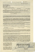 Movie/TV Memorabilia:Autographs and Signed Items, Lucille Ball Signed Contract for Orson Welles Radio Program. Asingle-page, double-sided contract dated April 28, 1944, enga...