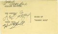 """Movie/TV Memorabilia:Autographs and Signed Items, Bowery Boys Signed Card. A 3"""" x 5"""" postcard signed by Leo Gorcey and Huntz Hall, leads of the Bowery Boys films in the 1940s..."""