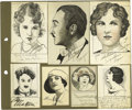 Movie/TV Memorabilia:Autographs and Signed Items, Original Celebrity Sketches Signed By Charlie Chaplin and Others. Aselection of ten small pen-and-ink sketches of various c...