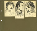 Movie/TV Memorabilia:Autographs and Signed Items, Original Celebrity Sketches Signed By Gary Cooper and Others. Aselection of nine small pen-and-ink sketches by Robert L. Wh...