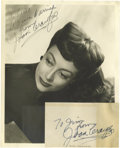 "Movie/TV Memorabilia:Autographs and Signed Items, Joan Crawford Signed Photo and Notecard. This 8"" x 10"" b&wphoto of the infamous actress is signed by Crawford in black ink..."