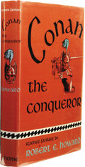 Books:First Editions, Robert E. Howard: Conan the Conqueror. (New York: GnomePress, 1950), first edition, 255 pages, maroon cloth with blue l...