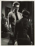 "Movie/TV Memorabilia:Photos, Photo of James Dean and Elizabeth Taylor on the Set of ""Giant."" A great, rare b&w 11"" x 14"" photo of Dean and Liz between ta..."