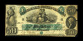 T6 $50 1861. This scarce note has the folds of a Very Fine, yet the right edge has three missing notches and several oth...