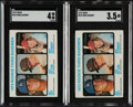 Baseball Cards:Lots, 1973 Topps Mike Schmidt Rookie #615 Graded Collection (2).... (Total: 2 items)