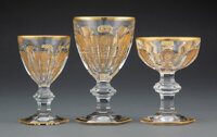 A Set of Thirty-Six Baccarat Empire Pattern Partial Gilt Glass Stemware, 20th centur... (Total: 36)