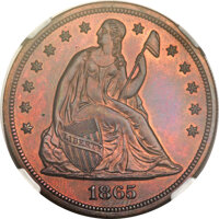 1865 $1 One Dollar, Judd-435, Pollock-508, Low R.7, PR66 Red and Brown NGC....(PCGS# 70620)
