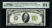 Fr. 2004-K $10 1934 Federal Reserve Note. PMG Choice Uncirculated 64 EPQ