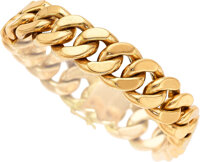 An 18k rose gold curb link bracelet, French  7 3/4 inches, French assay and partial makers mark  Gross we