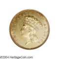 Three Dollar Gold Pieces: , 1861 $3 MS63 NGC. Very scarce in all grades and ...