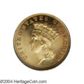 Proof Three Dollar Gold Pieces: , 1884 $3 PR62 Cameo PCGS. Only 106 proofs were struck of ...