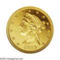 Proof Liberty Half Eagles: , 1899 $5 PR64 Cameo NGC. A nicely preserved tan-gold near-...