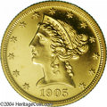 Proof Liberty Half Eagles: , 1905 $5 PR65 PCGS. The peak of the 5 in the date is ...