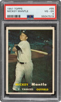 Baseball Cards:Singles (1950-1959), 1957 Topps Mickey Mantle #95 PSA VG-EX 4. Offered ...
