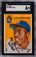 Baseball Cards:Singles (1950-1959), 1954 Topps Hank Aaron Rookie #128 SGC Authentic....