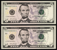 Rollover Pair 09997999/09998000 Fr. 1998-B $5 2017A Federal Reserve Notes. About Uncirculated or Better. ... (Total: 2 n...