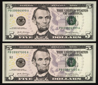 Rollover Pair 09996999/09997000 Fr. 1998-B $5 2017A Federal Reserve Notes. Choice Crisp Uncirculated. ... (Total: 2 note...