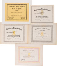 1950's Al Kaline High School Certificates Lot of 5 from The Al Kaline Collection