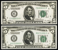 Fr. 1950-F: K $5 1928 Federal Reserve Notes. About Uncirculated. ... (Total: 2 notes)