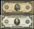 Fr. 851a $5 1914 Federal Reserve Note Very Good; Fr. 951a $10 1914 Federal Reserve Note Fine-Very Fine. ... (Total: 2 no...