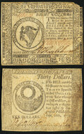 Continental Currency May 9, 1776 $8 Very Fine; Continental Currency September 26, 1778 $30 Very Fine. ... (Total: 2 note...