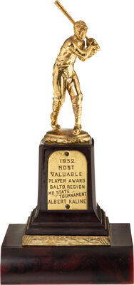 1952 Maryland State Tournament MVP Award Presented to Al Kaline from The Al Kaline Collection -- First MVP!