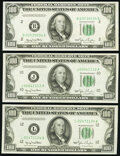Fr. 2157-B; J; L $100 1950 Federal Reserve Notes. About Uncirculated or Better. ... (Total: 3 notes)