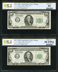 Fr. 2155-G/Fr. 2154-G $100 1934C/1934B Federal Reserve Notes. Reverse Changeover Pair. PCGS Banknote Graded About Unc 55...