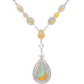 Estate Jewelry:Necklaces, Opal, Diamond, White Gold Necklace Stones: Opa...