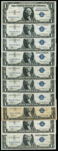 Fr. 1607 $1 1935 Silver Certificates. Ten Examples. Very Good or Better. ... (Total: 10 notes)