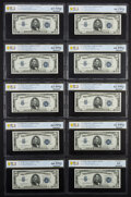 Fr. 1654 $5 1934D Silver Certificates. Wide I/Narrow/Wide II Ten Consecutive Examples. PCGS Banknote Uncirculated 62 PPQ...