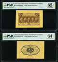 Fr. 1282SP 25¢ First Issue Wide Margin Pair PMG Graded Gem Uncirculated 65 EPQ; Choice Uncirculated 64. ... (Total:...