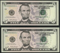Rollover Pair 09998999-09999000 Fr. 1998-B $5 2017A Federal Reserve Notes. Crisp Uncirculated or Better. ... (Total: 2 n...