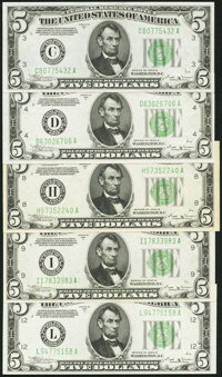 Fr. 1958-C; D; H; I; L $5 1934B Federal Reserve Notes. About Uncirculated to Choice Crisp Uncirculated. ... (Total: 5 no...