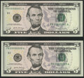 Fancy Serial Numbers 09990001 and 09990009 Fr. 1998-B $5 2017A Federal Reserve Notes. Crisp Uncirculated or Better...