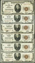 Fr. 1870-A; B; C; E; F; L $20 1929 Federal Reserve Bank Notes. Very Fine. ... (Total: 6 notes)