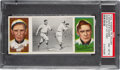 Baseball Cards:Singles (Pre-1930), 1912 T202 Hassan Triple Folder Donlin Out At First - Magee...