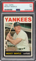 Baseball Cards:Singles (1960-1969), 1964 Topps Mickey Mantle #50 PSA NM 7. A perfect w...