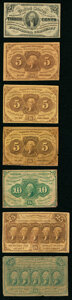 Fr. 1227 3¢ Third Issue Very Fine; Fr. 1230 5¢ First Issue Three Examples Fine or Better; Fr. 1242 10¢ Fi...