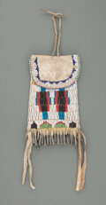 American Indian Art:Beadwork and Quillwork, An Apache Beaded Hide Strike-A-Light P ouch c....