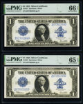 Large Size:Silver Certificates, Fr. 237 $1 1923 Silver Certificates Three Consecutive Examples. PMG Gem Uncirculated 66 EPQ; Gem Uncirculated 65 EPQ (2)....