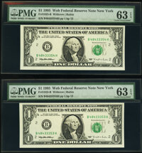 Fr. 1923-B $1 1995 Web Federal Reserve Notes. Three Consecutive Examples. PMG Choice Uncirculated 63 EPQ. ... (Total: 3...