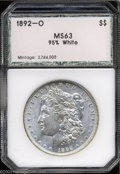 Additional Certified Coins: , 1892-O $1 Morgan Dollar MS63 95% White PCI (MS62). ...