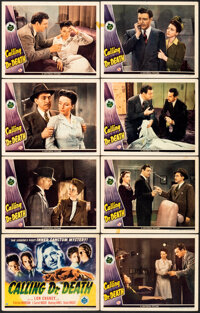 """Calling Dr. Death (Universal, 1943). Fine/Very Fine. Lobby Card Set of 8 (11"""" X 14""""). Mystery. ... (Total: 8 I..."""