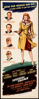 """Lured (United Artists, 1947). Folded, Very Fine-. Insert (14"""" X 36""""). Mystery"""