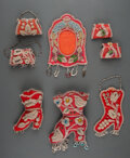 American Indian Art:Beadwork and Quillwork, Eight Iroquois Beaded Cloth Whimsies c. 1900