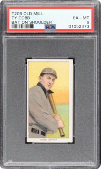1909-11 T206 Old Mill Ty Cobb (Bat On Shoulder) PSA EX-MT 6 - The Finest of Only Six Graded Examples!