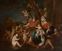 Nicolas Poussin (French, 1594-1665) The Rest on the Flight to Egypt, with the youthful Saint John the Baptist</...